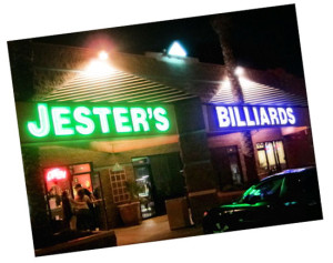 Jester's Billiards, the best sports bar for pool, billiards, darts and craft beers in Phoenix, at the intersection of two main streets, Gilbert and Baseline Rds.
