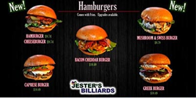 Burgers on the menu at Jester's Billiards