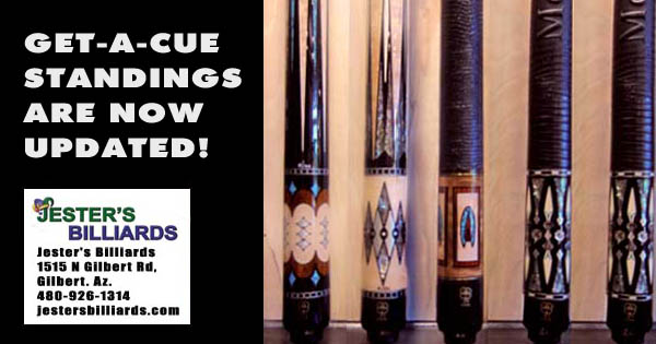 Get-A-Cue League Standings at Jester's Billiards